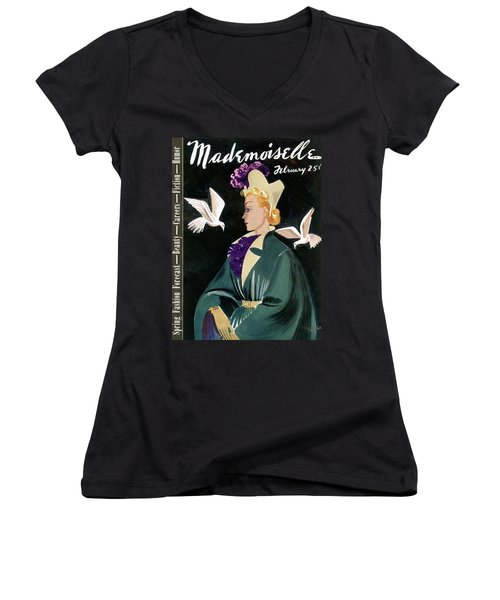 Mademoiselle Cover Featuring A Model In A Green Women's V-Neck
