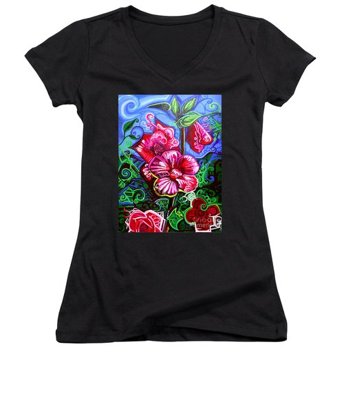 Magenta Fleur Symphonic Zoo I Women's V-Neck T-Shirt