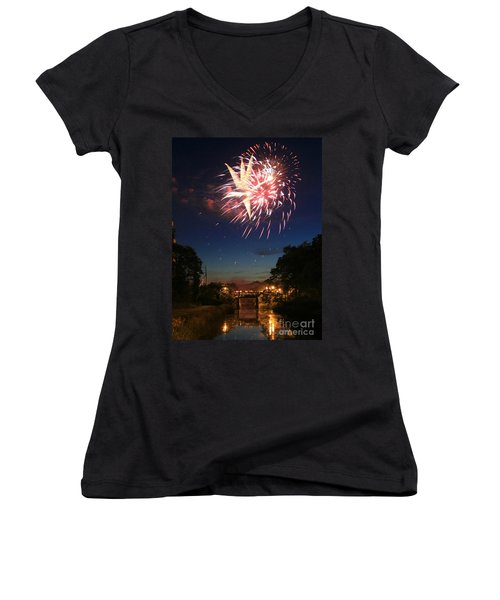 Magic In The Sky Women's V-Neck T-Shirt (Junior Cut) by Paula Guttilla