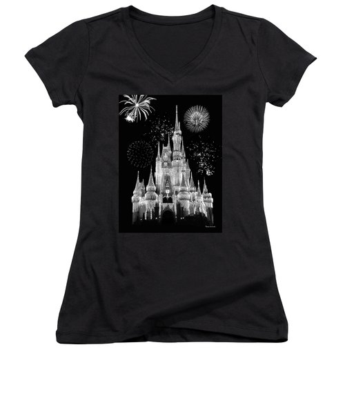 Magic Kingdom Castle In Black And White With Fireworks Walt Disney World Women's V-Neck T-Shirt (Junior Cut) by Thomas Woolworth
