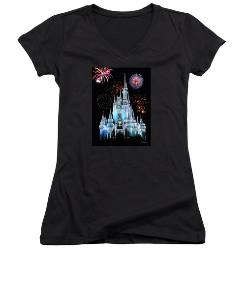Magic Kingdom Castle In Frosty Light Blue With Fireworks 06 Women's V-Neck T-Shirt (Junior Cut) by Thomas Woolworth