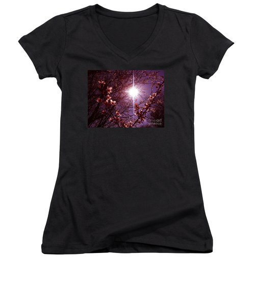 Women's V-Neck T-Shirt (Junior Cut) featuring the photograph Magical Blossoms by Vicki Spindler