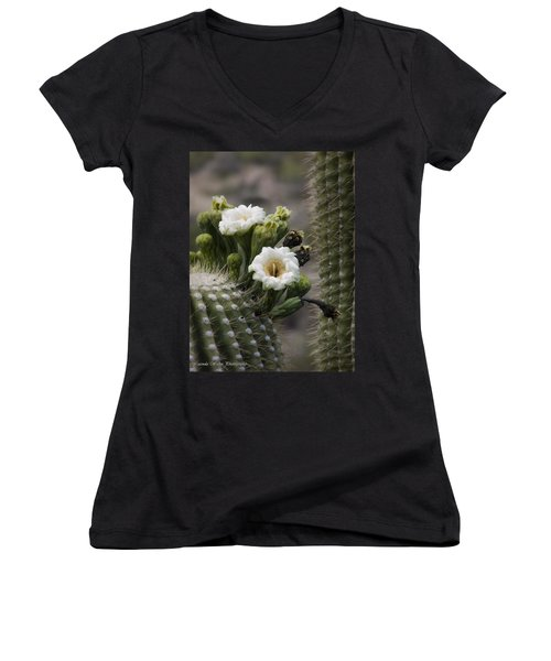 Women's V-Neck T-Shirt (Junior Cut) featuring the photograph Magnificant Bloom Of The Saguaro by Lucinda Walter