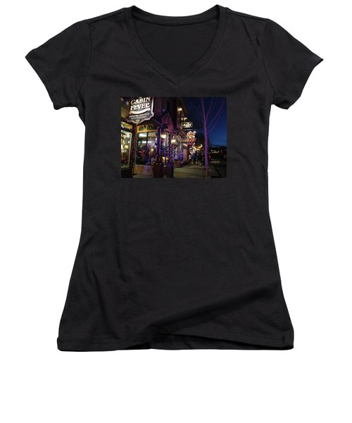 Main Street Breckenridge Colorado Women's V-Neck (Athletic Fit)