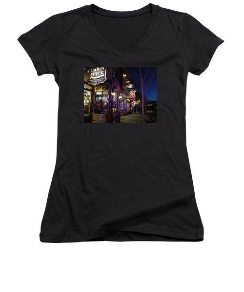 Main Street Breckenridge Colorado Women's V-Neck T-Shirt