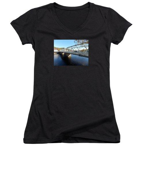 Main Street Bridge Shelbourne Falls  Women's V-Neck T-Shirt