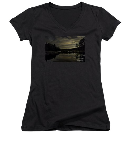 Maine Beaver Pond At Night Women's V-Neck T-Shirt