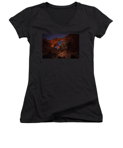 Women's V-Neck T-Shirt (Junior Cut) featuring the photograph Make It A Double by David Andersen