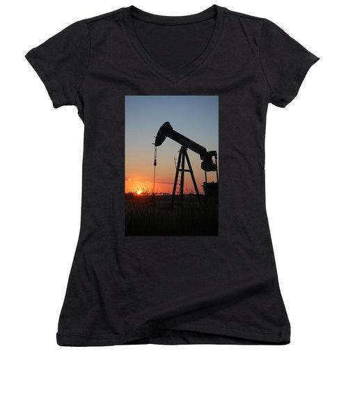 Making Tea At Sunset Women's V-Neck T-Shirt (Junior Cut) by Leticia Latocki