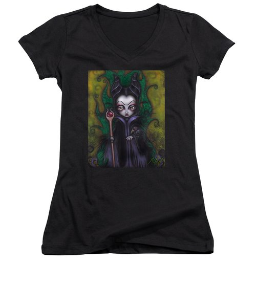 Maleficent  Women's V-Neck T-Shirt (Junior Cut) by Abril Andrade Griffith