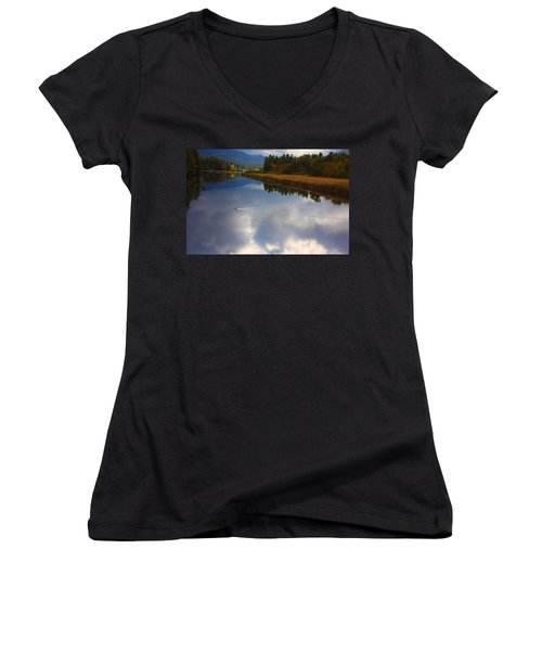 Women's V-Neck T-Shirt (Junior Cut) featuring the photograph Mallard Duck On Lake In Adirondack Mountains In Autumn by Jerry Cowart