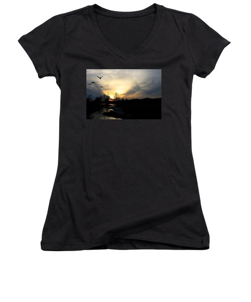 Mallards Silhouette At Sunset Women's V-Neck