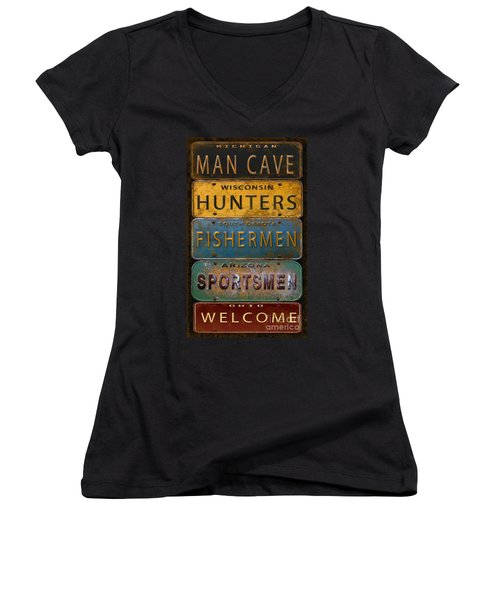 Man Cave-license Plate Art Women's V-Neck T-Shirt (Junior Cut) by Jean Plout