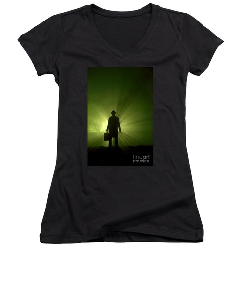 Women's V-Neck T-Shirt (Junior Cut) featuring the photograph Man In Light Beams by Lee Avison