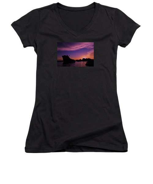 Women's V-Neck T-Shirt (Junior Cut) featuring the photograph Man In Sun At Bonsai Rock by Sean Sarsfield