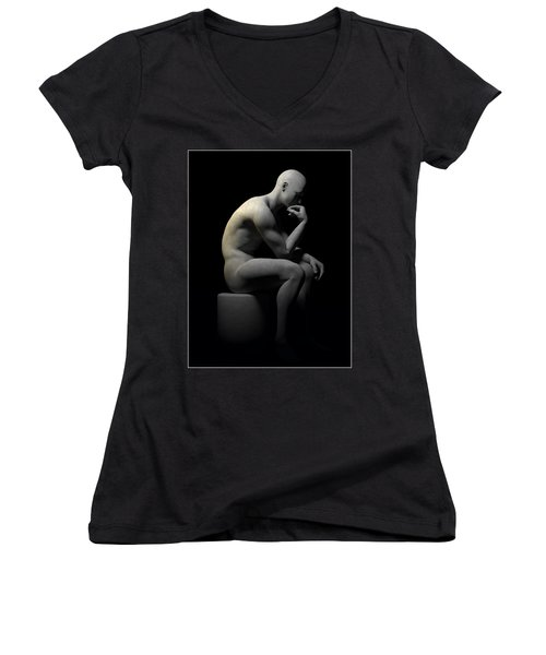 Women's V-Neck T-Shirt (Junior Cut) featuring the digital art Man Thinking... by Tim Fillingim