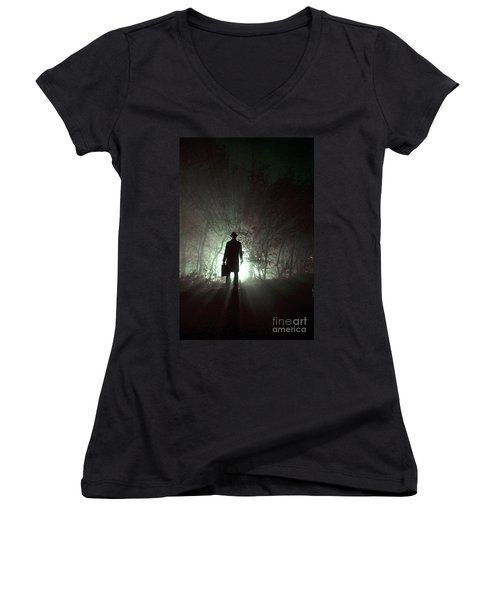 Women's V-Neck T-Shirt (Junior Cut) featuring the photograph Man Waiting In Fog With Case by Lee Avison