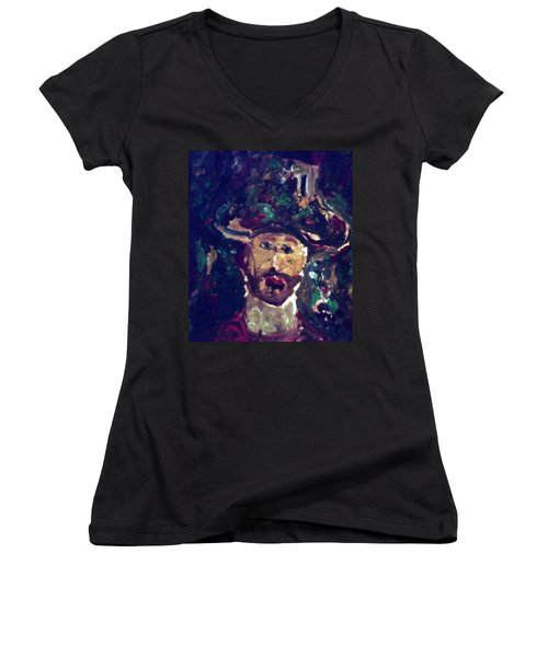 Man With A Hat Women's V-Neck