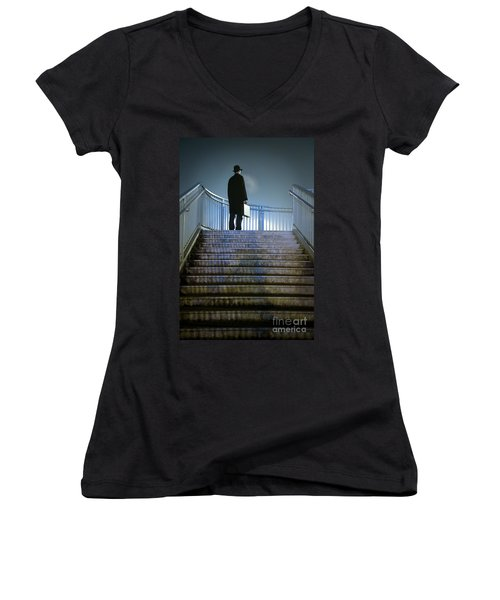 Women's V-Neck T-Shirt (Junior Cut) featuring the photograph Man With Case At Night On Stairs by Lee Avison