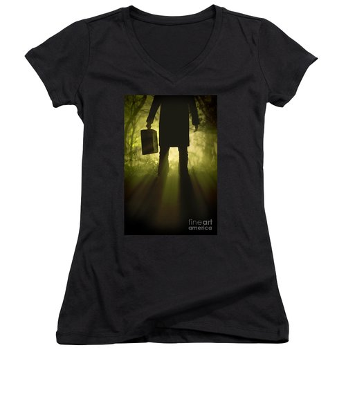 Women's V-Neck T-Shirt (Junior Cut) featuring the photograph Man With Case In Fog by Lee Avison