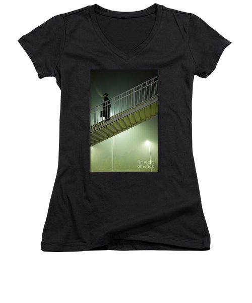 Women's V-Neck T-Shirt (Junior Cut) featuring the photograph Man With Case On Steps Nighttime by Lee Avison