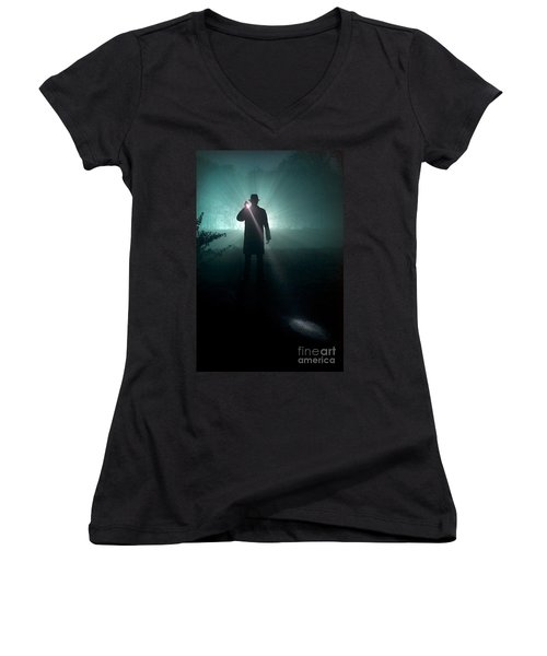 Women's V-Neck T-Shirt (Junior Cut) featuring the photograph Man With Flashlight  by Lee Avison