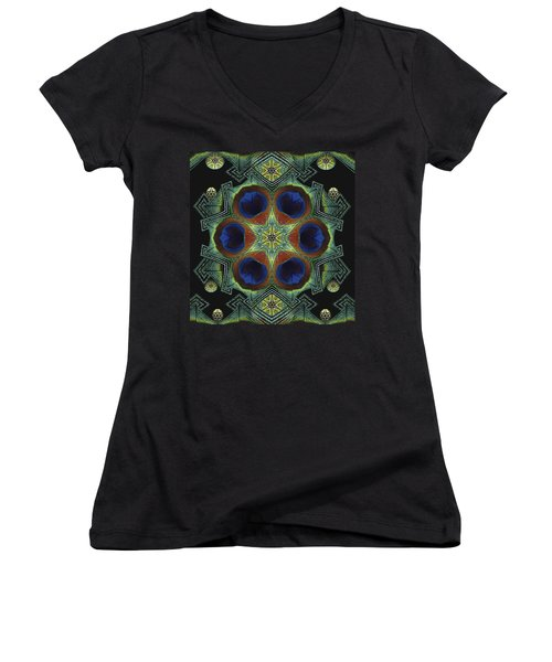 Women's V-Neck T-Shirt (Junior Cut) featuring the digital art Mandala Peacock  by Nancy Griswold