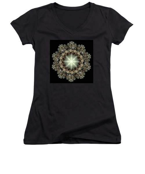 Women's V-Neck T-Shirt (Junior Cut) featuring the digital art Mandala by Svetlana Nikolova
