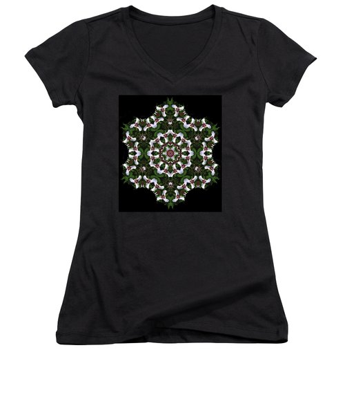 Mandala Trillium Holiday Women's V-Neck T-Shirt