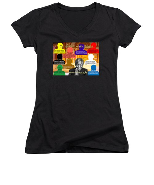 Mandela's Rainbow With Scripture Women's V-Neck T-Shirt