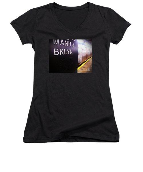 Women's V-Neck T-Shirt (Junior Cut) featuring the photograph Manhattan And Brooklyn by James Aiken