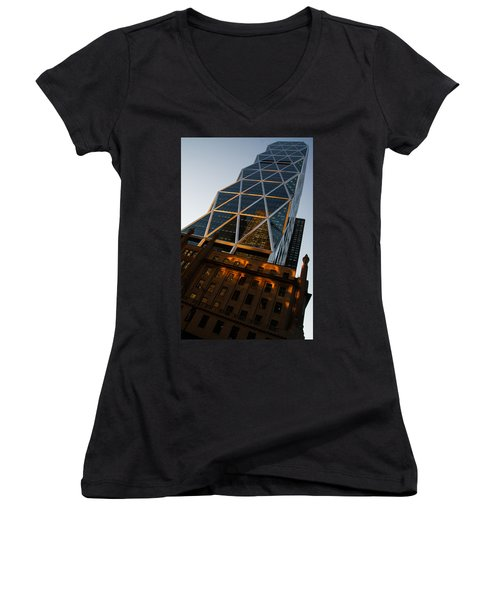 Manhattan Blues And Oranges Women's V-Neck T-Shirt