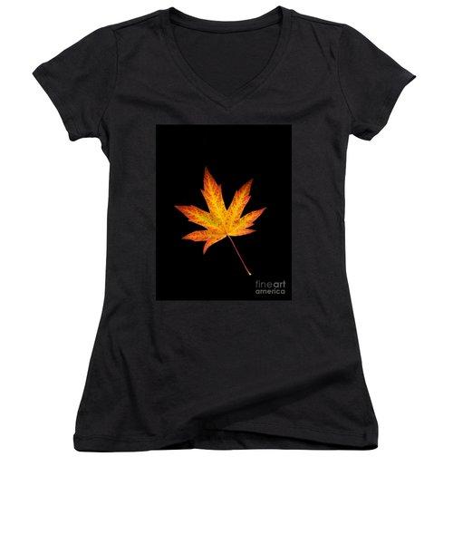 Maple Leaf On Black Women's V-Neck