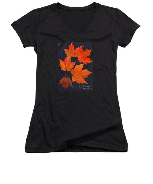 Maple Leaf Tag II Women's V-Neck T-Shirt (Junior Cut) by Joan Hartenstein