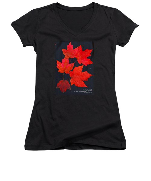 Women's V-Neck T-Shirt (Junior Cut) featuring the photograph Maple Leaf Tag by Joan Hartenstein