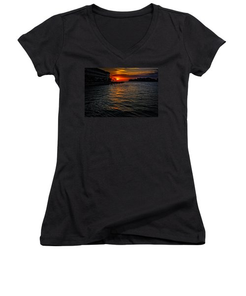 Women's V-Neck T-Shirt (Junior Cut) featuring the photograph Marco Island Sunset 43 by Mark Myhaver