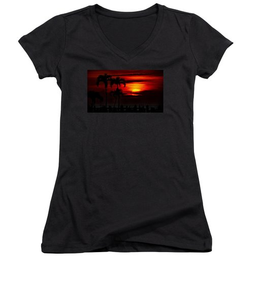 Women's V-Neck T-Shirt (Junior Cut) featuring the photograph Marco Island Sunset 59 by Mark Myhaver