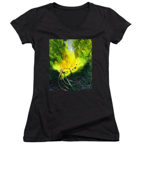 Women's V-Neck T-Shirt (Junior Cut) featuring the painting Mardi Gras On Green by Alys Caviness-Gober