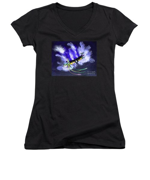 Women's V-Neck T-Shirt (Junior Cut) featuring the painting Mardi Gras On Purple by Alys Caviness-Gober