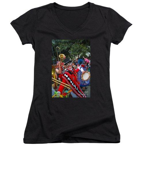 Mardi Gras Storyville Marching Group Women's V-Neck T-Shirt (Junior Cut) by Luana K Perez
