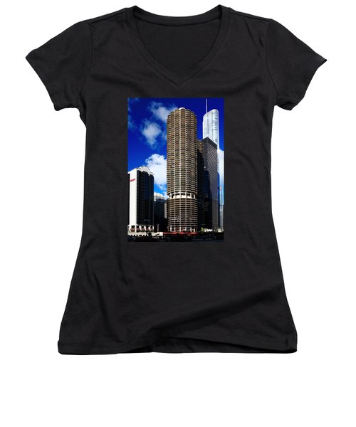 Marina City Corncob Tower Women's V-Neck