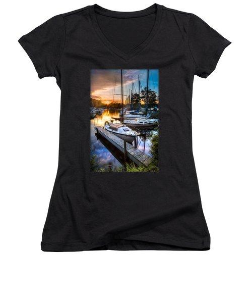 Marina Sunrise Women's V-Neck T-Shirt