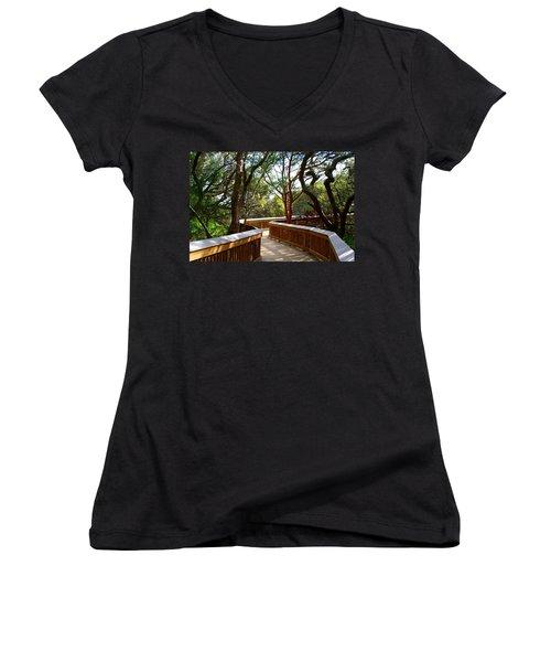 Maritime Forest Boardwalk Women's V-Neck T-Shirt (Junior Cut) by Kathryn Meyer
