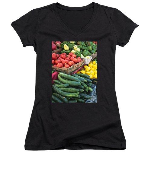 Women's V-Neck T-Shirt (Junior Cut) featuring the photograph Market Freshness by Arlene Carmel