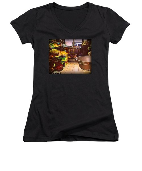 Women's V-Neck T-Shirt (Junior Cut) featuring the photograph Market With Bronze Scale by Miriam Danar