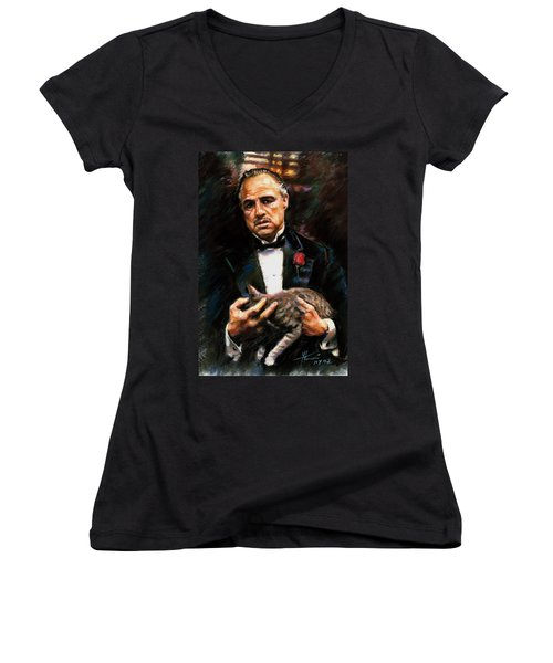 Marlon Brando The Godfather Women's V-Neck T-Shirt (Junior Cut) by Viola El