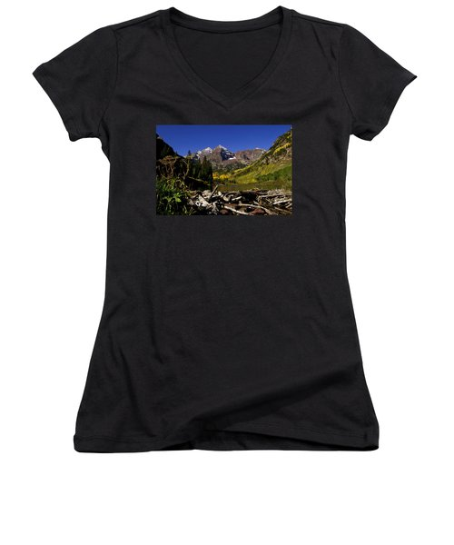 Women's V-Neck T-Shirt (Junior Cut) featuring the photograph Maroon Bells by Jeremy Rhoades