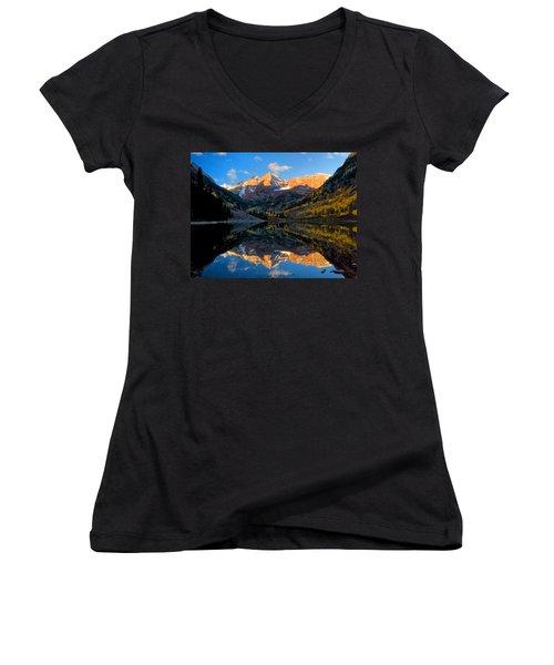 Maroon Bells Landscape Women's V-Neck T-Shirt