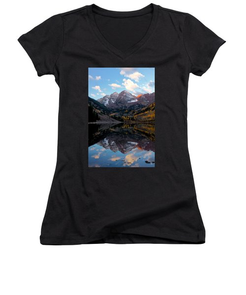 Women's V-Neck T-Shirt (Junior Cut) featuring the photograph Maroon Bells by Ronda Kimbrow