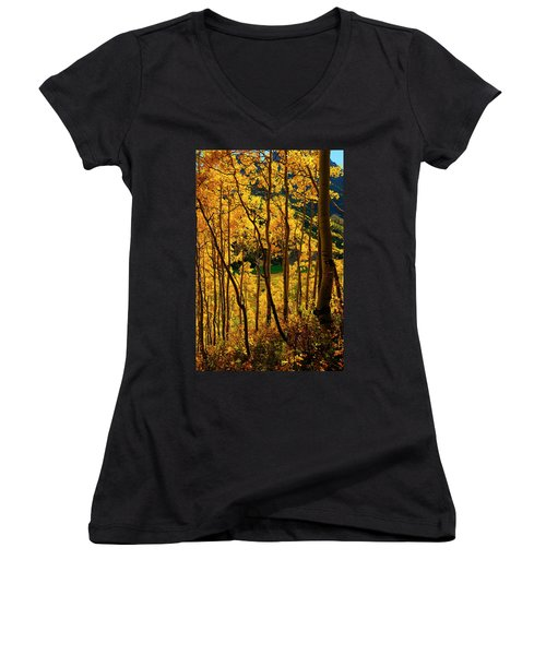 Maroon Lake Gold Women's V-Neck T-Shirt (Junior Cut) by Jeremy Rhoades